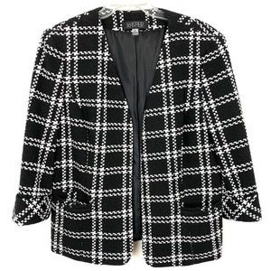 Kasper Plaid Open-Front Jacket Black & White